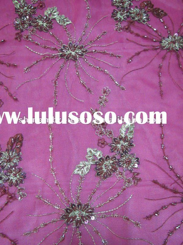nicely dress design with hand embroidery fabric beads sequence