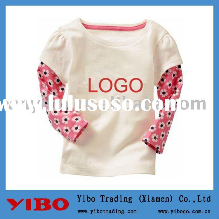 white long sleeve kid cotton t-shirt,kids clothes,children clothing
