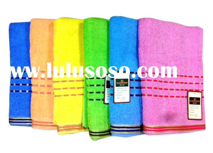 100% cotton terry bath towel with satin boarder