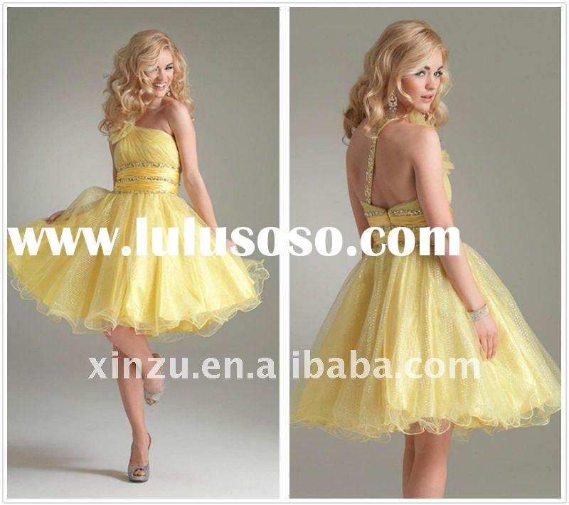 2011 New Lovely One Beaded Strap Yellow Short Ball Gown Prom Dress--PD2134