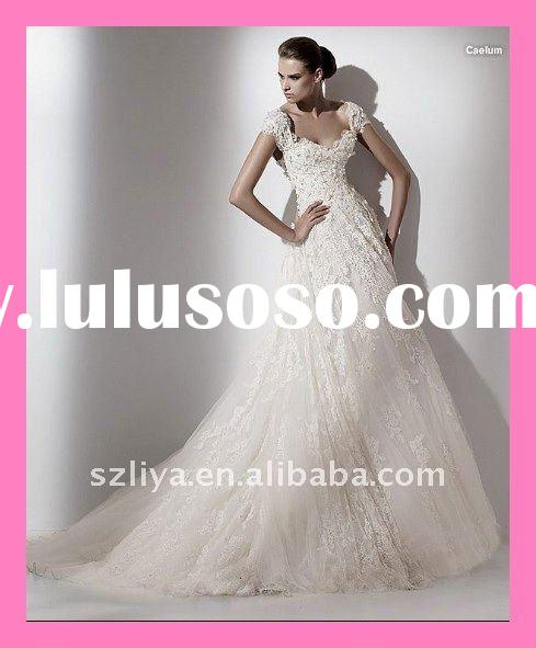 2011 new arrival elegant trendy layered ruched organza wedding dress lace embroidered