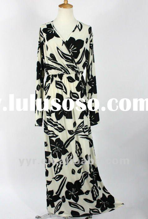 2012 New Arrival Women Cross V Neck Long Sleeves Printed Maxi Dress,100%Guarantee,Wholesale and Reta