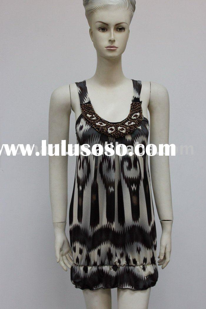 2012 S/S fashion african pattern yarn dyed beaded women dresses12SD022