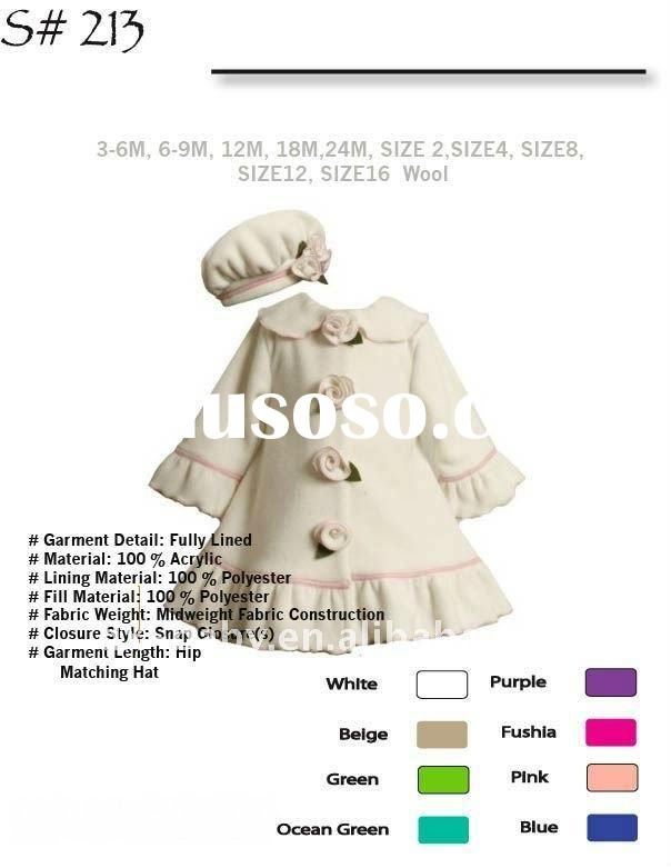 2012 hot sale fashion girl winter jackets with wool