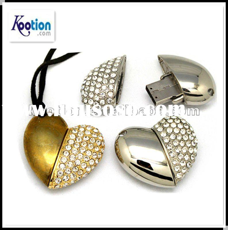 2012 popular promotional gift usb flash drive with crystal heart Promotional Metal USB Flash Drive