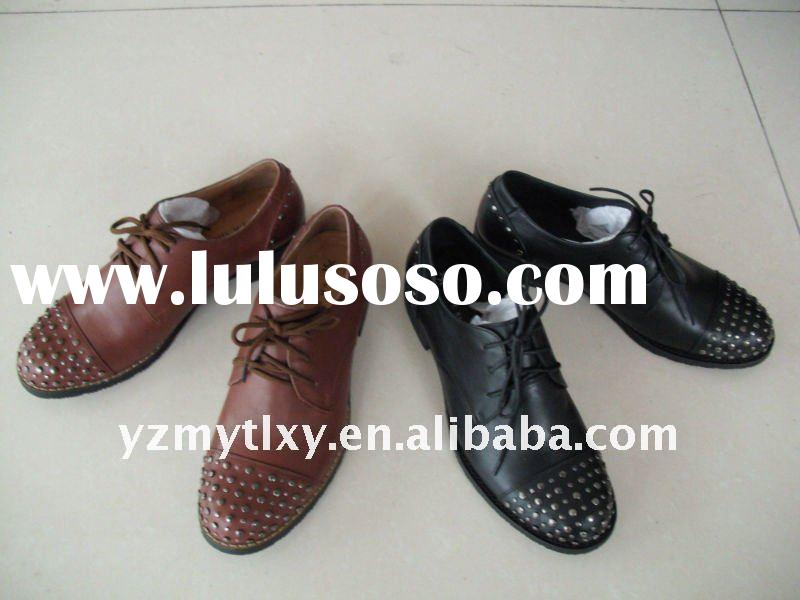 2012 women fashion leather flat casual shoes
