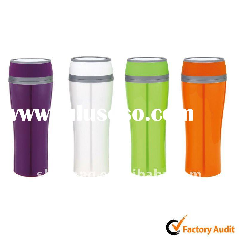 380ml double wall promotional plastic mug with push button lid,water 360degree out,leakproof design