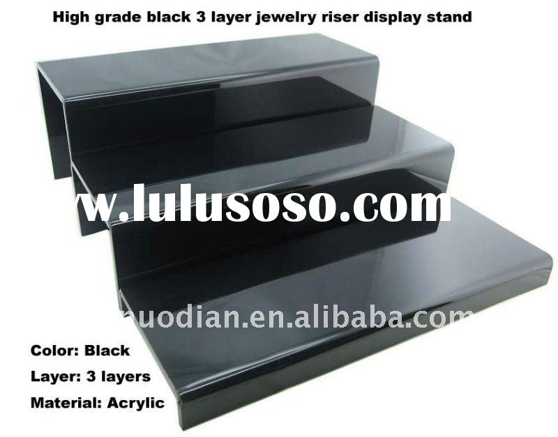3 LAYER BLACK ACRYLIC DISPLAY RISER SHOWCASE STAND
