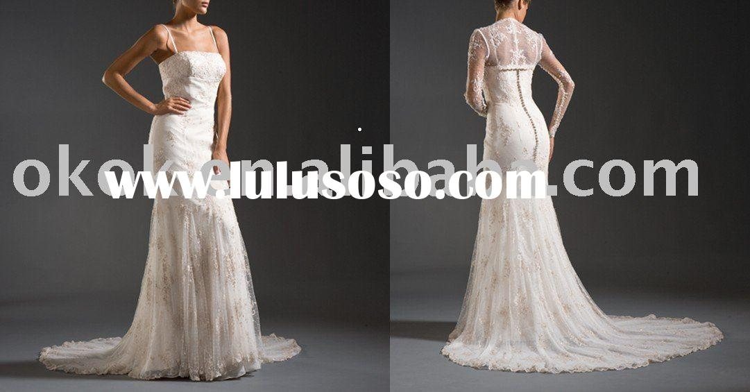 Amazing lace crystal beaded appliqued slim wedding dresses