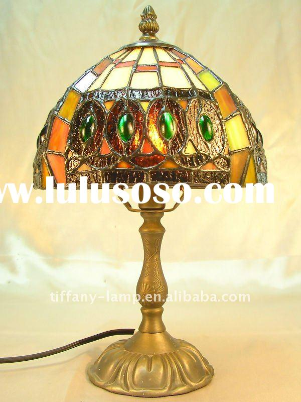 Antique stained glass colored glass lamp shade