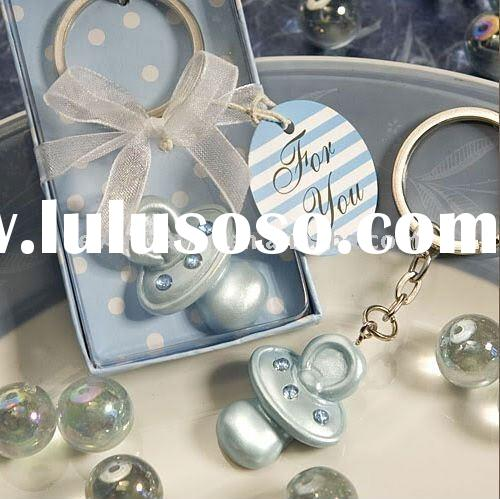 Baby Shower Favors Baby Blue Pacifier Keychain Christening Favors(Promotional Products)