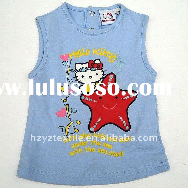 Blue hello kitty girls sleeveless summer tshirt kids printed tshirt with buttons on the back 2012 ne