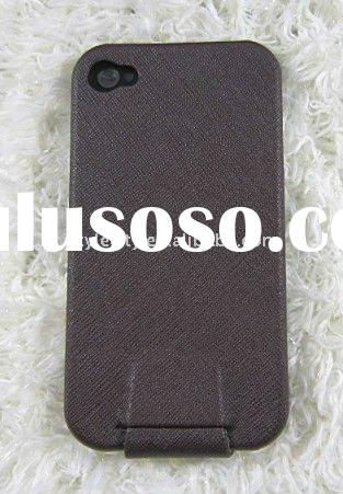 Brown Smooth Leather Flip Case Pouch Cover for iPhone 4