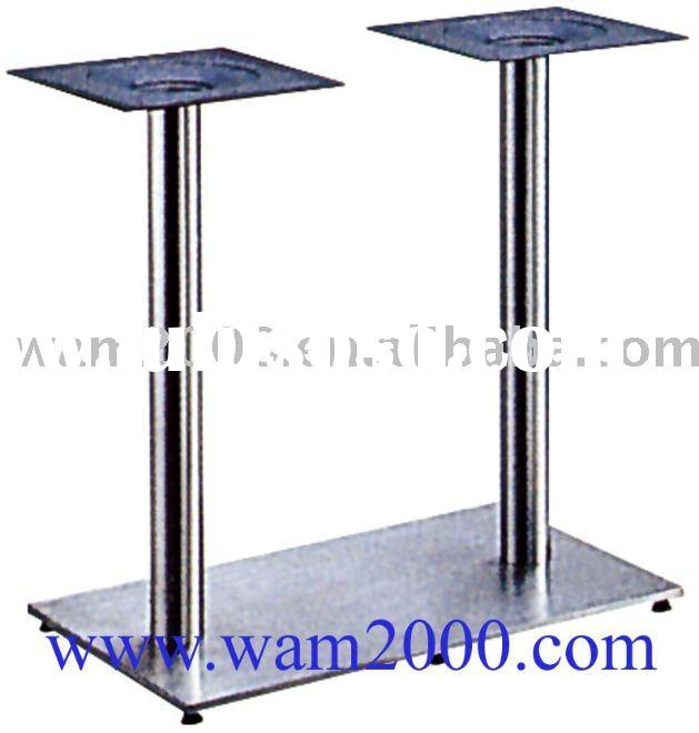Brushed rectangular stainless steel table bases with cast iron insert for outdoor garden table