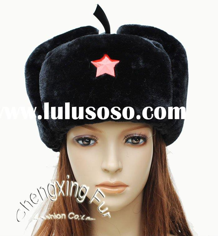 CX-C-02 Womens Faux Fur Russian Hat with Badge