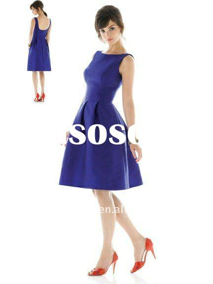 Cheap sleeveless royal blue knee-length bridesmaid dress