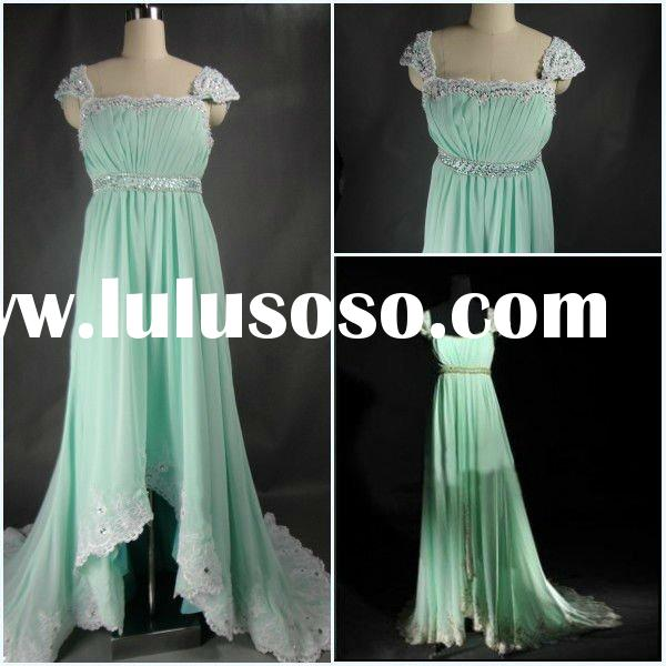 Custom Made 2012 Fashion light green tulle satin A-line Strapless lace trim Beaded sequins ruffled P