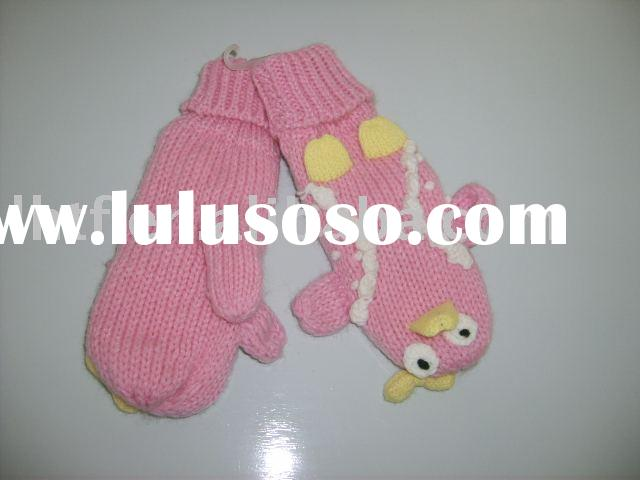 Fashionable knitted animal handling gloves
