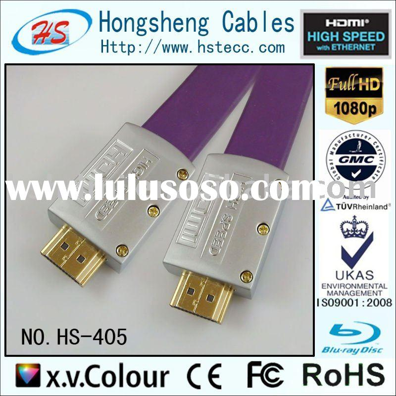 HS-405A,Metal shell High Speed flat hdmi cable with ethernet and 3D support