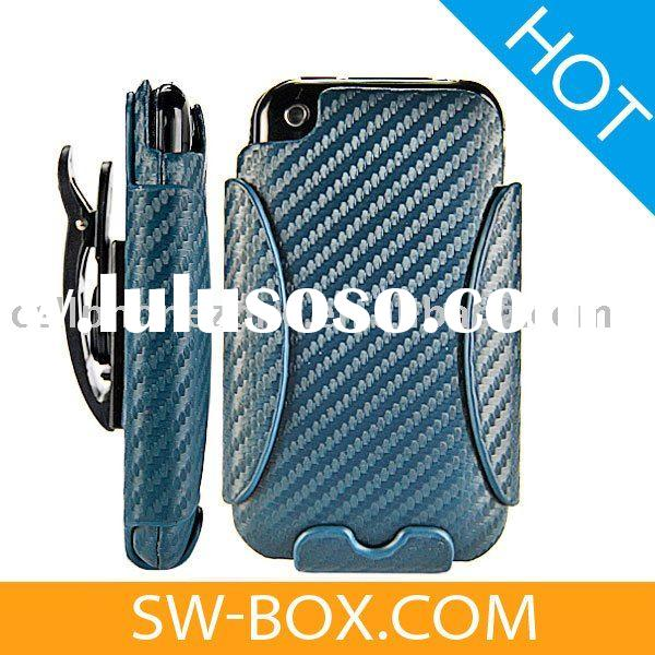 Holster Combo Carbon Fiber Leather Hard Case for iPhone 3GS iPhone 3G (Blue) /mobile phone leather c