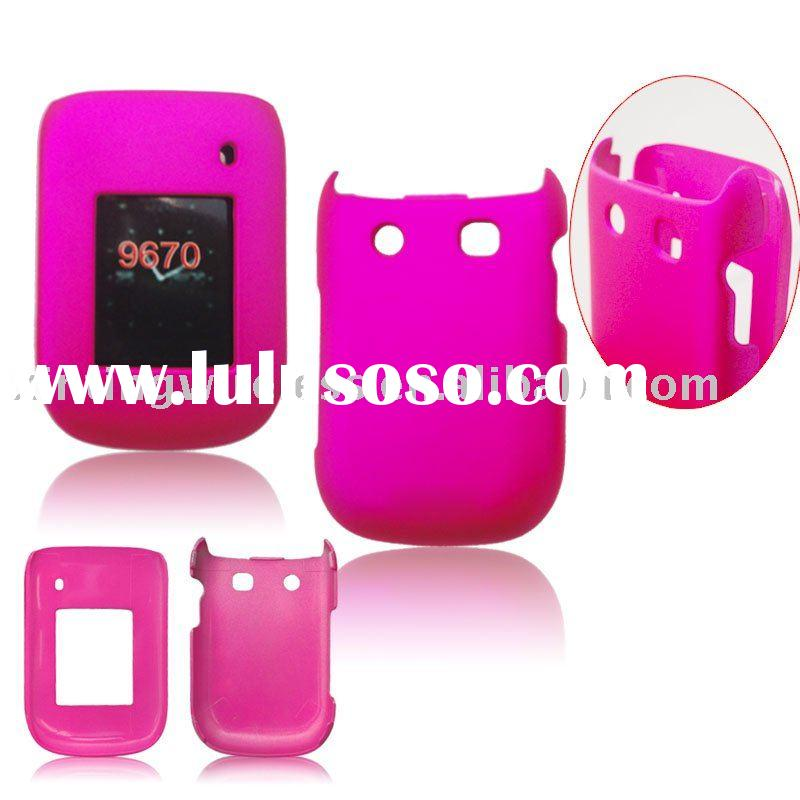 Hot pink Rubber hard cover for BlackBerry Style 9670 (Sprint)