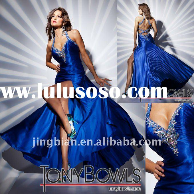 Hot sell royal blue evening dress with Hi-leg slit dresses evening dress 2012 tony bowls evening dre