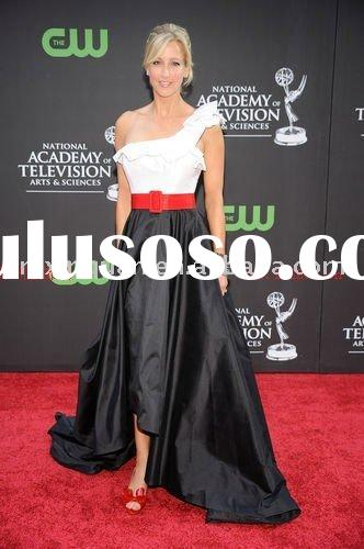 JHT045 free shipping white bodice black skirt with red sash formal evening dress