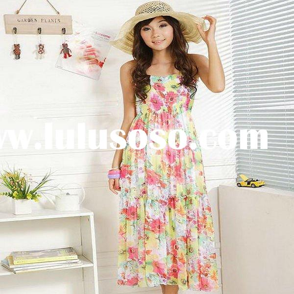 Ladies fashion summer boho colorful chiffon printed casual maxi dress