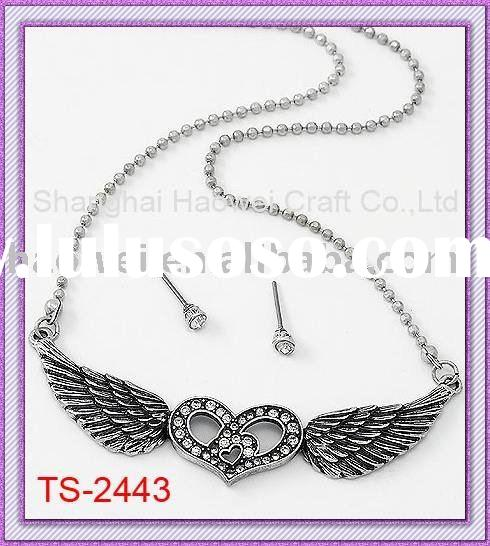 Lucky Jewelry Set;Heart with Wing Necklace Set