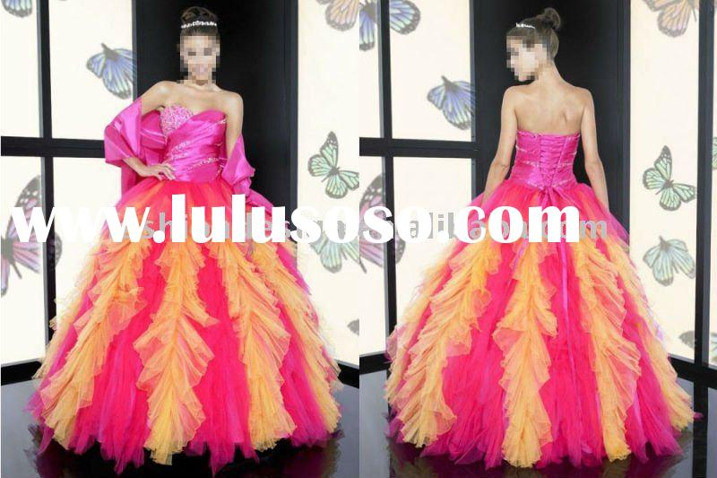 ME-04 2011 Stunning bright pink and yellow tulle with lace appliqued sweetheart neckline Ball Prom d