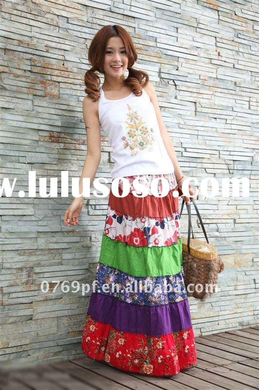 New fashion ladies hot sell colorful BOHO maxi skirts