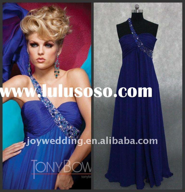 PD088 Free shipping 2012 Tony Bowls Real sample one shoulder gown formal dress