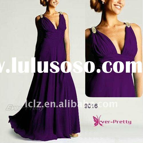 Plus size purple beaded straps maxi Prom Evening Gown Dress 9016PP wholesale