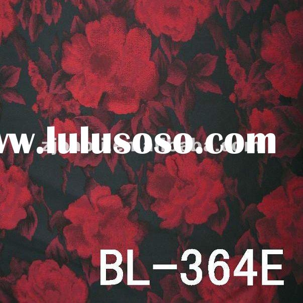 Red Flower Design Jacquard Polyester Fabric