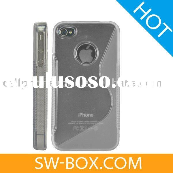 Stylish Hard Plastic Case Cover with Soft Side Design for iPhone 4 (Grey) /For iPhone 4 Case