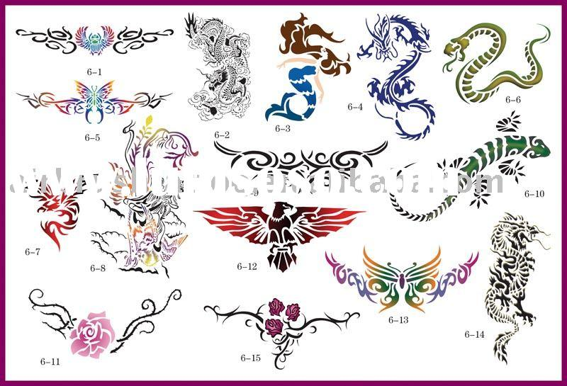 Temporary airbrush tattoo stencil design --- Dragon