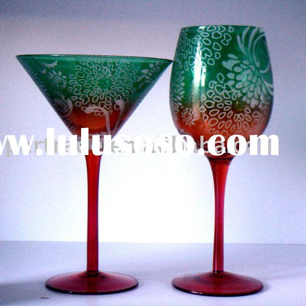 Tinting green martini and wine glass goblet