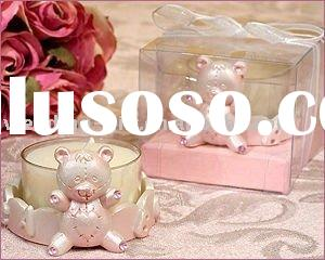 Wedding gift of pink small bear candle holder favor