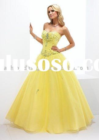 Yellow tulle crystals beaded Quinceanera prom dresses QB111