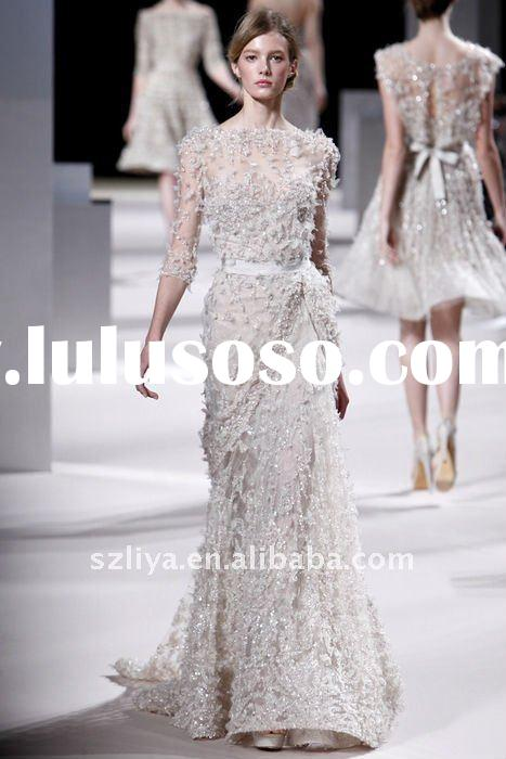 customer made elie saab lace crystal flower beaded evening gown