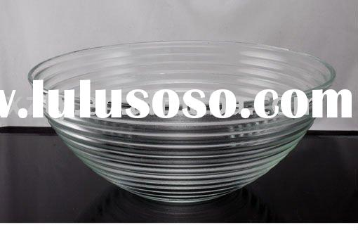 elegant clear decor glass fruit plate/bowl with stripe