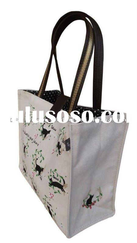 fashion cotton or canvas printed bag with zip