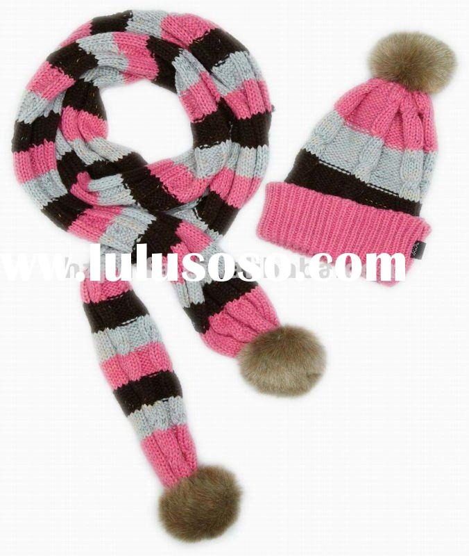 fashional pretty cute super soft cozy warm popular kid scarf hat set