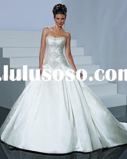 long train ball gown wedding dress,hotsale wedding gown