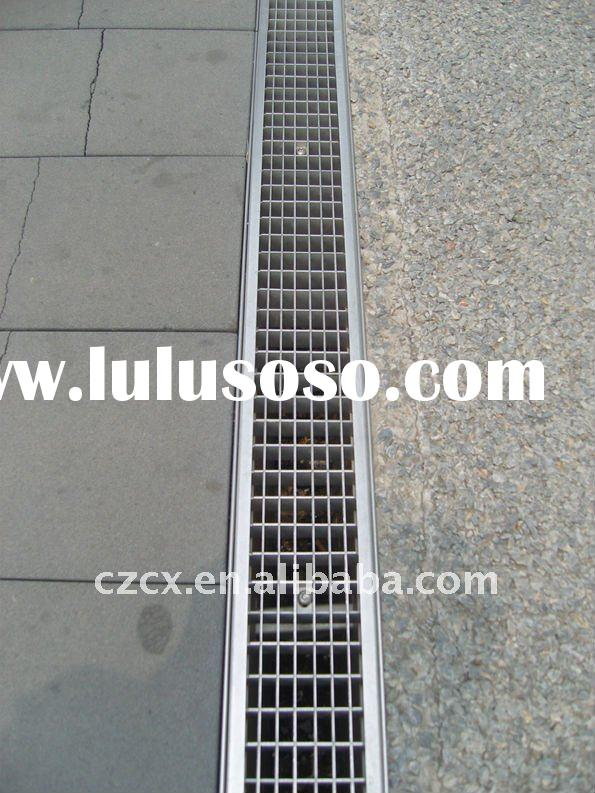 rain water drainage trench systerm gutter grid steel grating polymer concrete gutter