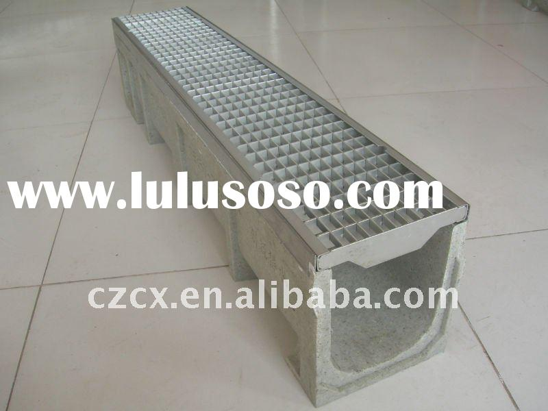 walkway polymer concrete drainage trench water drainage syster steel grating