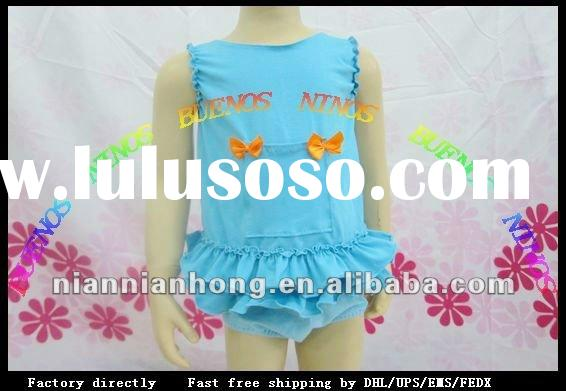 100% blue cotton gorgeous baby rose ruffle outfit ruffl with ruffle bloomere dressHotsale Baby Wear