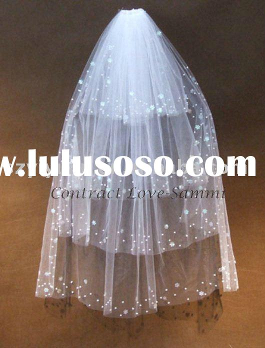 2011 new style hot sale long silk tulle lace wedding veil bridal accessories