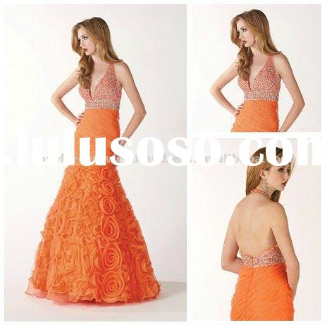 2012 Halter Orange Organza Mermaid Style Prom Dresses