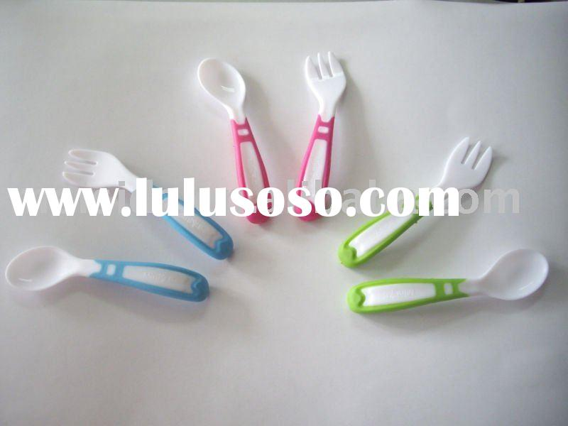 2012 hot sale Baby Colorful Easy Grip Spoon & Fork set